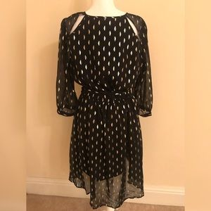 Black and gold long sleeve dress